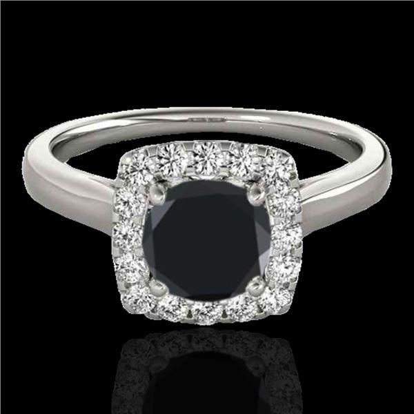 1.37 ctw Certified VS Black Diamond Solitaire Halo Ring 10k White Gold - REF-51N3F