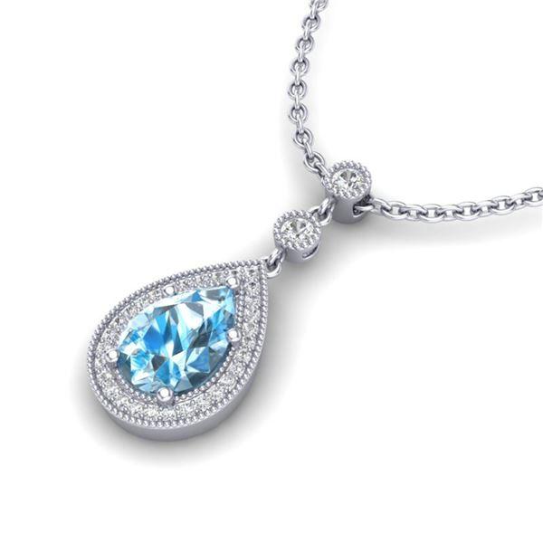 2.25 ctw Sky Blue Topaz & Micro Pave Diamond Necklace 18k White Gold - REF-37A3N