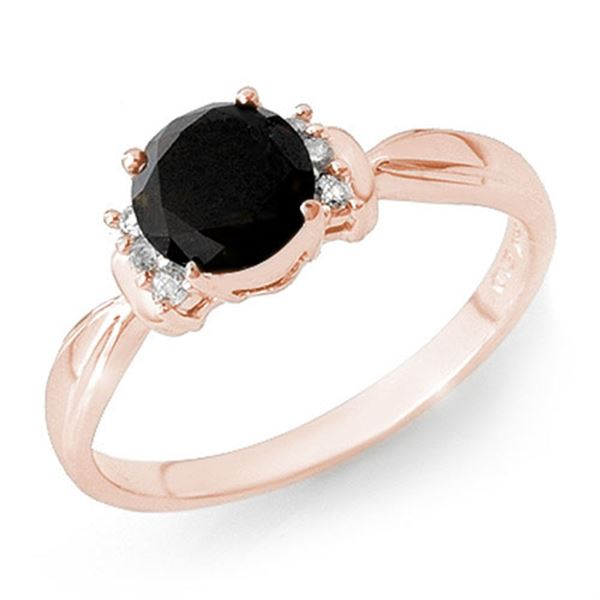 1.10 ctw VS Certified Black & White Diamond Solitaire Ring 14k Rose Gold - REF-31A3N