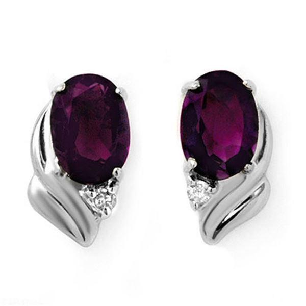 1.03 ctw Amethyst & Diamond Earrings 18k White Gold - REF-14F6M