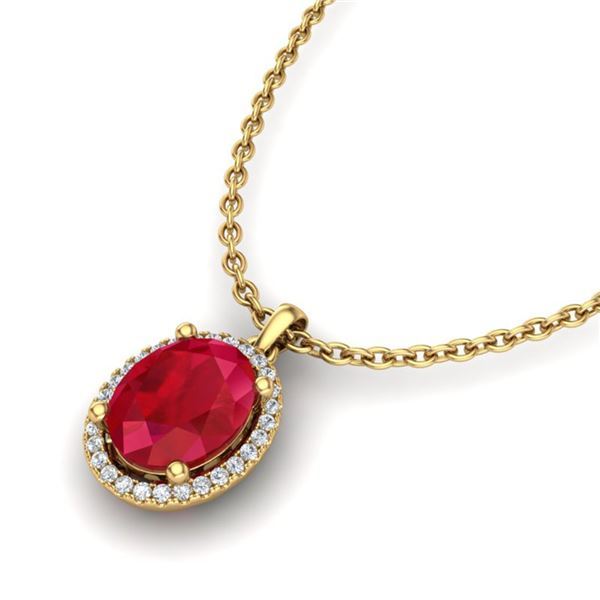 3 ctw Ruby & Micro Pave VS/SI Diamond Necklace 18k Yellow Gold - REF-45Y9X