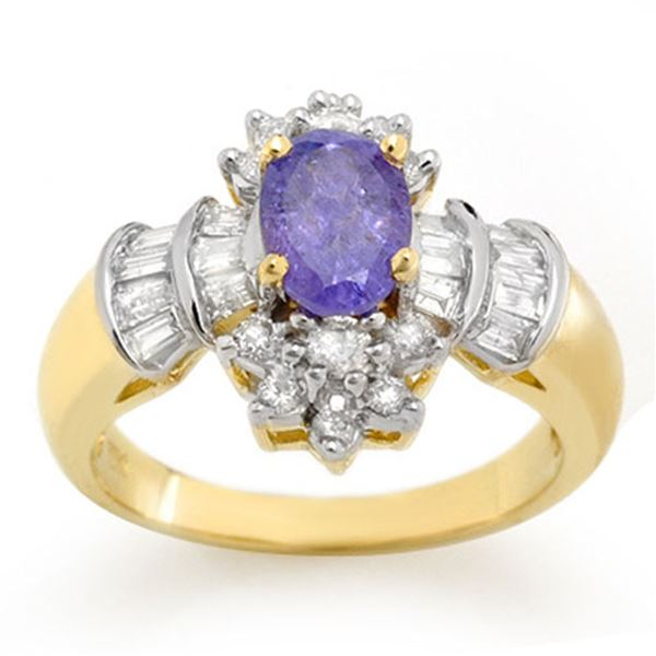 1.76 ctw Tanzanite & Diamond Ring 14k Yellow Gold - REF-89R3K