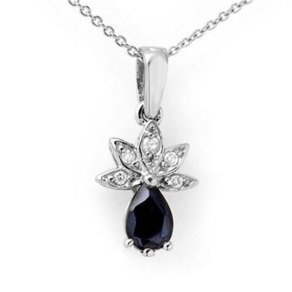 0.60 ctw Blue Sapphire & Diamond Pendant 18k White Gold - REF-16G4W