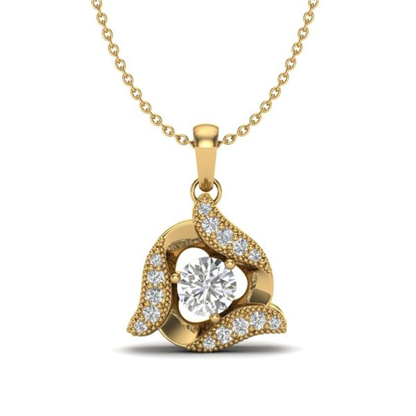 0.38 ctw Micro Pave VS/SI Diamond Certified Necklace 18k Yellow Gold - REF-39X8A