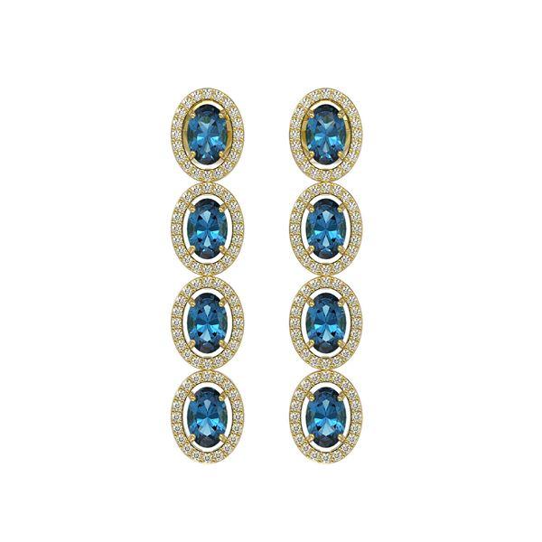 6.28 ctw London Topaz & Diamond Micro Pave Halo Earrings 10k Yellow Gold - REF-143H6R