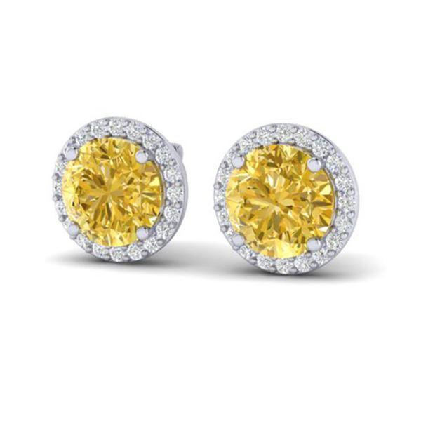 4 ctw Citrine & Halo VS/SI Diamond Micro Pave Earrings 18k White Gold - REF-49A3N