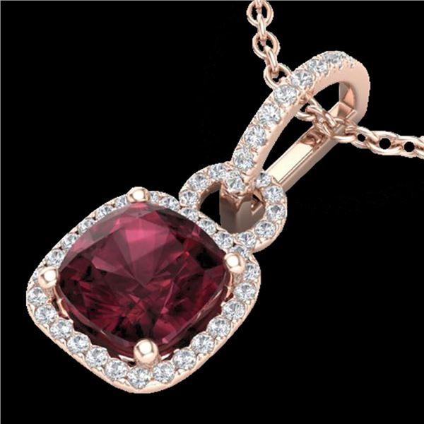 3.50 ctw Garnet & Micro VS/SI Diamond Necklace 14k Rose Gold - REF-39M9G