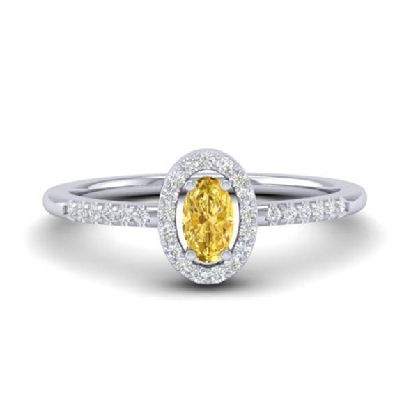 0.65 Citrine & Micro Pave VS/SI Diamond Certified Ring 18k White Gold - REF-23F5M