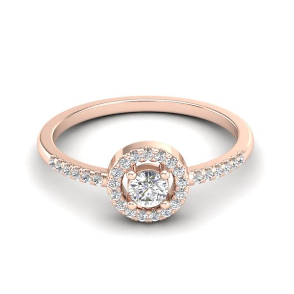 0.40 ctw Micro Pave VS/SI Diamond Certified Ring Halo 14k Rose Gold - REF-32W2H