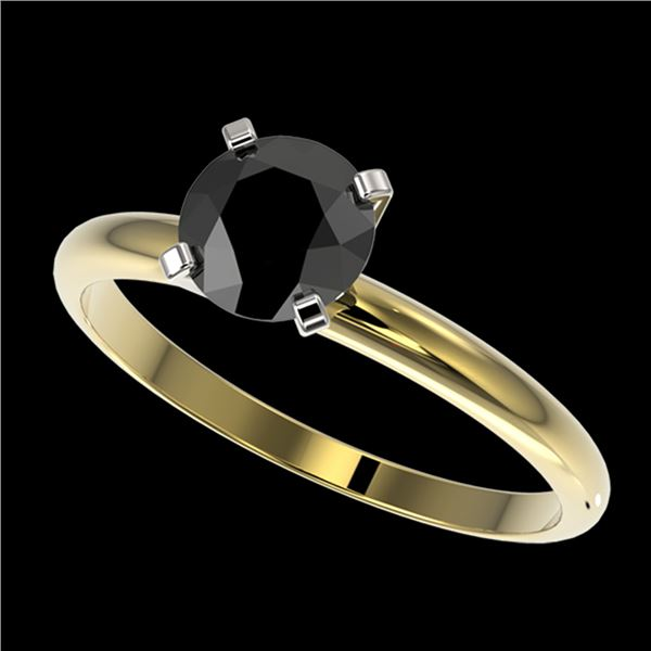 1 ctw Fancy Black Diamond Solitaire Engagment Ring 10k Yellow Gold - REF-22M3G