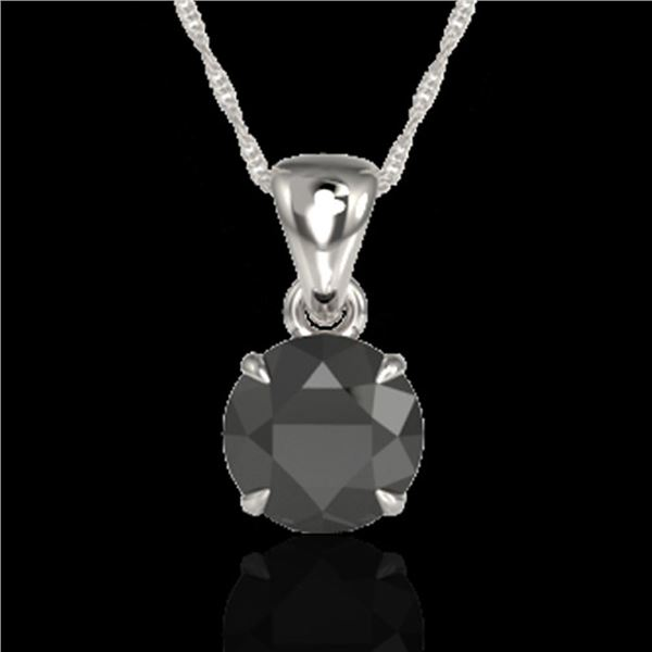 2 ctw Black Diamond Certified Necklace 18k White Gold - REF-49G3W