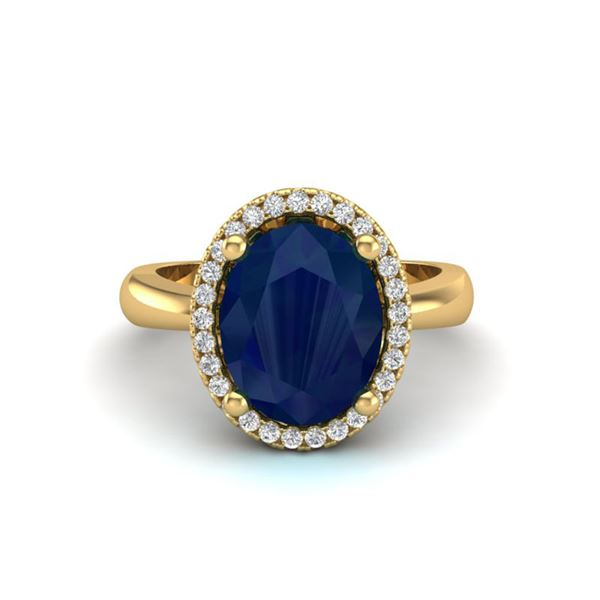 3 ctw Sapphire & Micro Pave VS/SI Diamond Ring 18k Yellow Gold - REF-46N5F