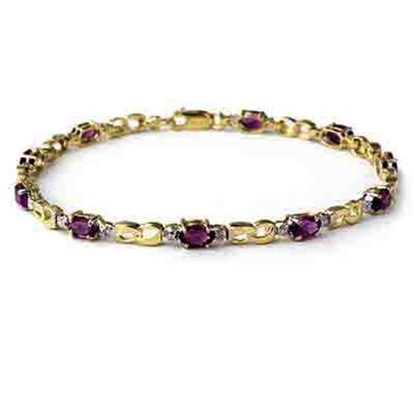 2.03 ctw Amethyst & Diamond Bracelet 10k Yellow Gold - REF-19A2N