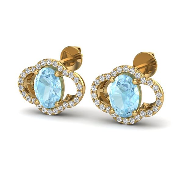 4 ctw Aquamarine & Micro Pave VS/SI Diamond Earrings 10k Yellow Gold - REF-51K3Y
