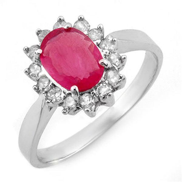 1.27 ctw Ruby & Diamond Ring 18k White Gold - REF-35M2G