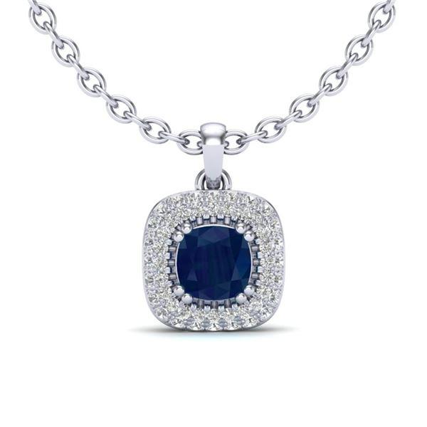 1.08 ctw Sapphire & Micro VS/SI Diamond Necklace Halo 18k White Gold - REF-54M3G