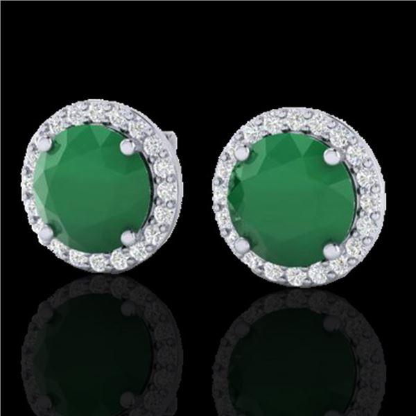 4 ctw Emerald & Halo VS/SI Diamond Micro Pave Earrings 18k White Gold - REF-55K8Y