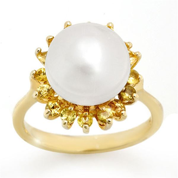 0.75 ctw Yellow Sapphire & Pearl Ring 10k Yellow Gold - REF-20X6A