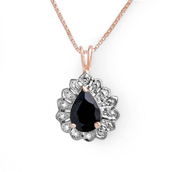 1.10 ctw Blue Sapphire Pendant 18k Rose Gold - REF-14Y3X