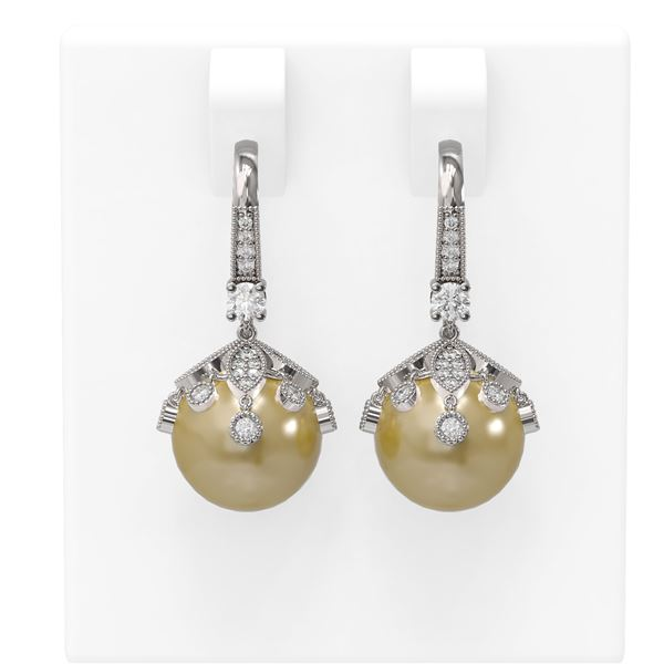 1 ctw Diamond & Pearl Earrings 18K White Gold - REF-129A8N