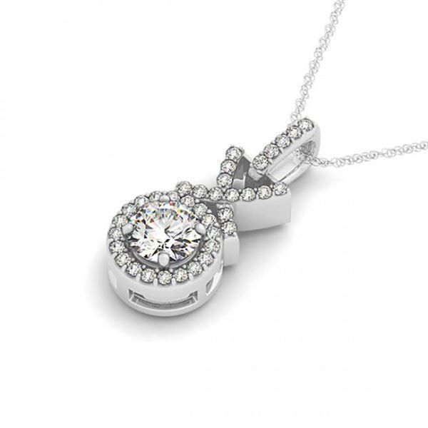 0.78 ctw Certified VS/SI Diamond Halo Necklace 14k White Gold - REF-102G2W