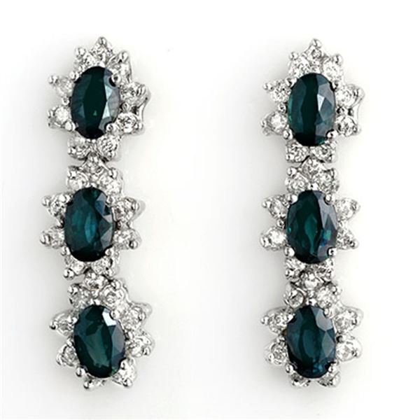 5.88 ctw Blue Sapphire & Diamond Earrings 14k White Gold - REF-141X8A