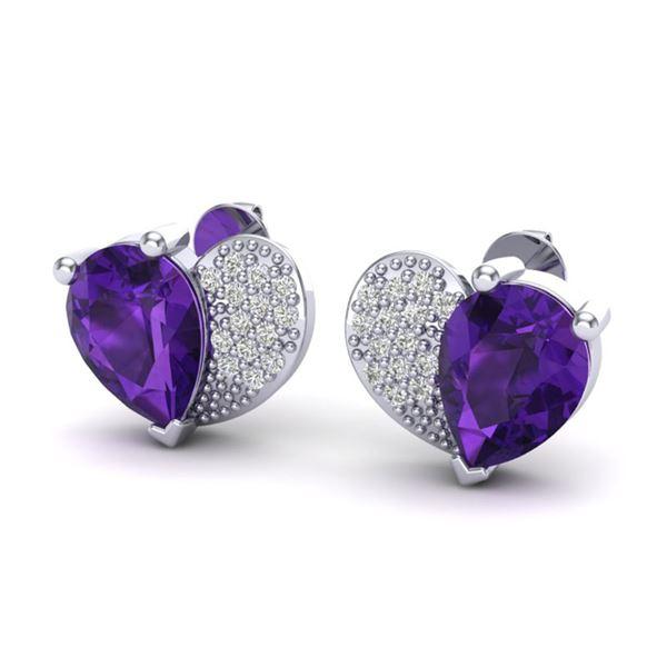2.50 ctw Amethyst & Micro Pave VS/SI Diamond Earrings 10k White Gold - REF-22G5W