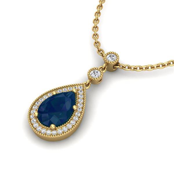 2.75 ctw Sapphire & Micro Pave VS/SI Diamond Necklace 18k Yellow Gold - REF-44W4H