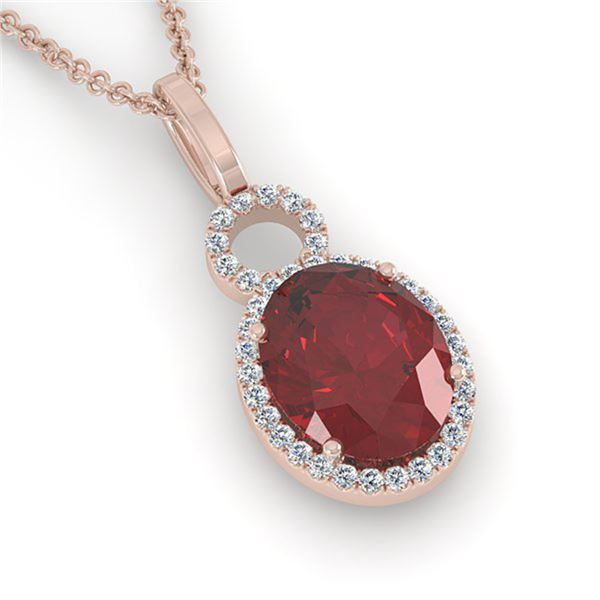 4 ctw Garnet & Micro Pave Halo VS/SI Diamond Necklace 14k Rose Gold - REF-33A8N