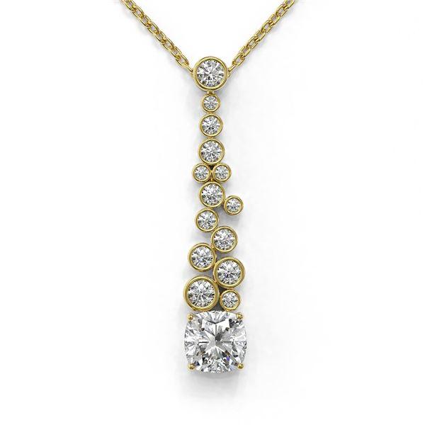 1.2 ctw Cushion Cut Diamond Designer Necklace 18K Yellow Gold - REF-181N8F