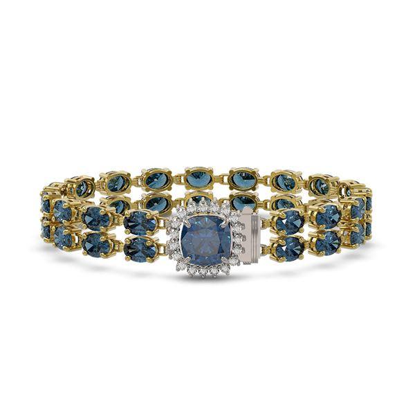 17.87 ctw London Topaz & Diamond Bracelet 14K Yellow Gold - REF-178G2W