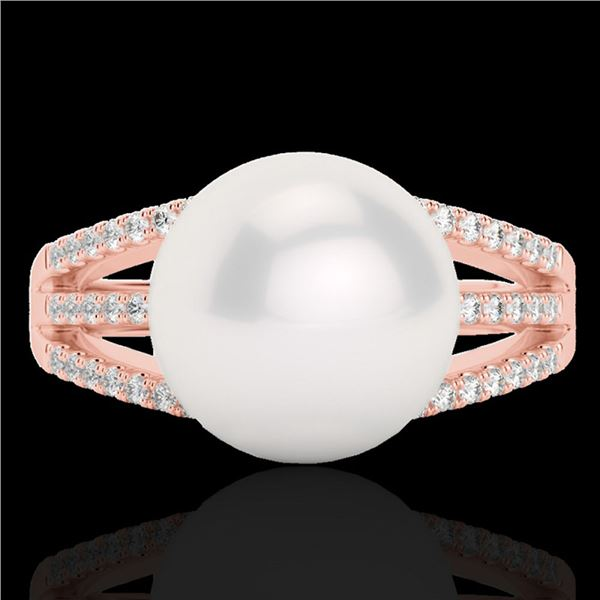 0.30 ctw Micro Pave VS/SI Diamond & Pearl Designer Ring 14k Rose Gold - REF-39H3R