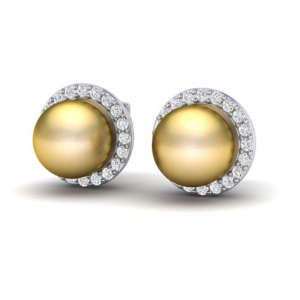 0.50 ctw Micro Pave Diamond & Golden Pearl Earrings 18k White Gold - REF-46X5A