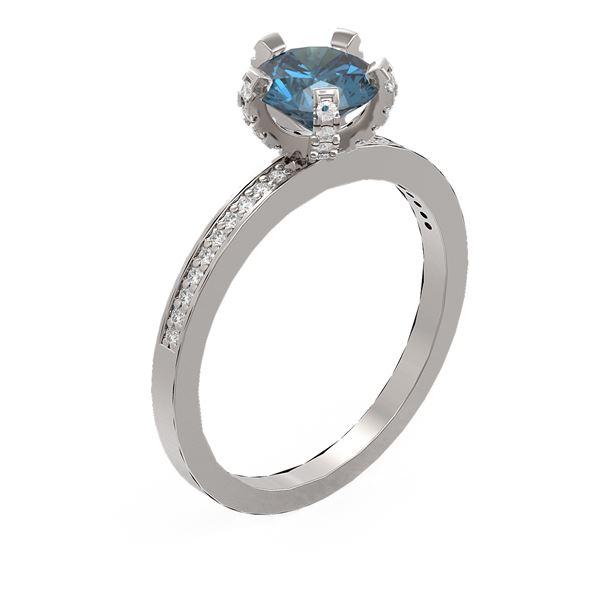 1.35 ctw Intense Blue Diamond Ring 18K White Gold - REF-201X8A