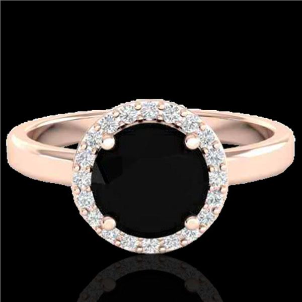2 ctw Halo VS/SI Diamond Certified Micro Pave Ring 14k Rose Gold - REF-54F5M