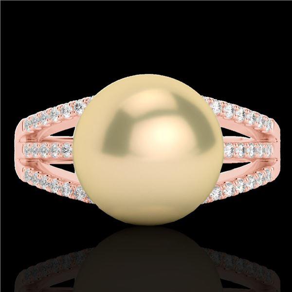 0.30 ctw Micro Pave VS/SI Diamond & Golden Pearl Ring 14k Rose Gold - REF-39R3K
