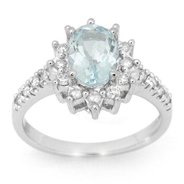 2.20 ctw Aquamarine & Diamond Ring 14k White Gold - REF-74G5W