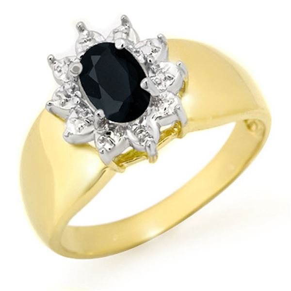 0.65 ctw Blue Sapphire Ring 10k Yellow Gold - REF-12Y3X