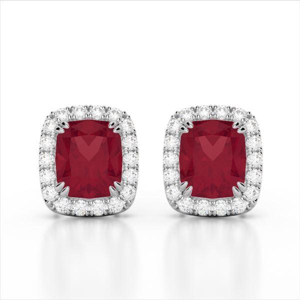 2.50 ctw Ruby & Micro Pave VS/SI Diamond Certified Earrings 10k White Gold - REF-38R2K