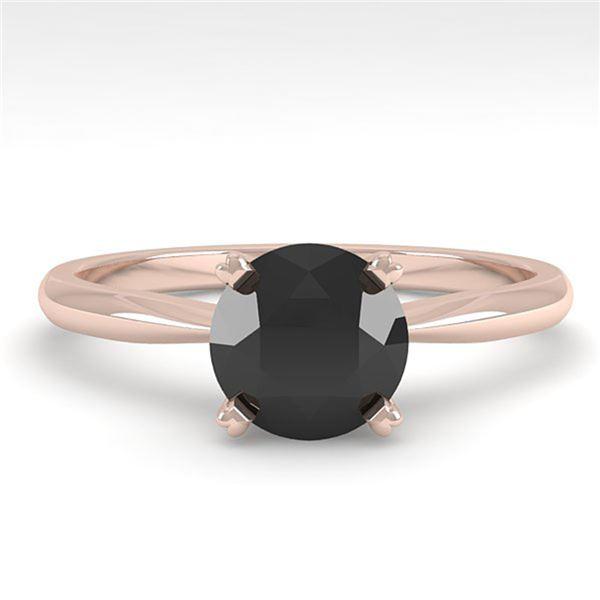 1.0 ctw Black Diamond Engagment Designer Ring 18k Rose Gold - REF-35X6A