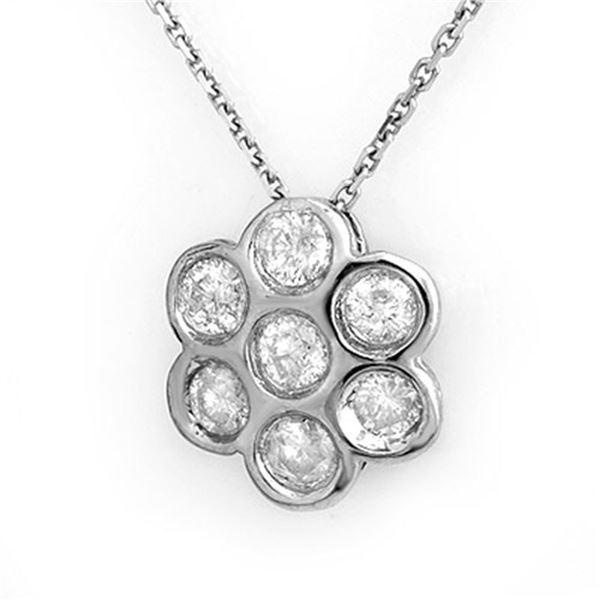 0.90 ctw Certified VS/SI Diamond Necklace 18k White Gold - REF-80N5F