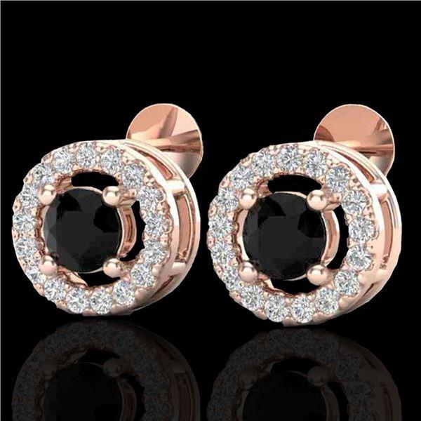 0.75 ctw Micro Pave VS/SI Diamond Certified Earrings Halo 14k Rose Gold - REF-40R9K
