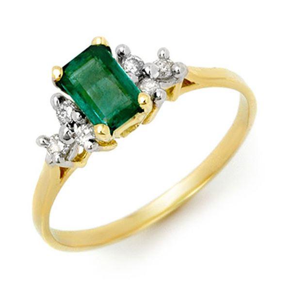 0.74 ctw Emerald & Diamond Ring 10k Yellow Gold - REF-12X4A