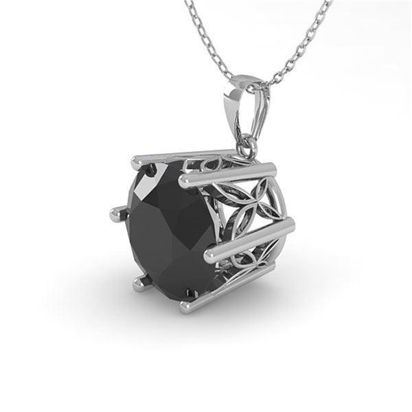 1 ctw Black Certified Diamond Art Deco Necklace 14k White Gold - REF-26G2W