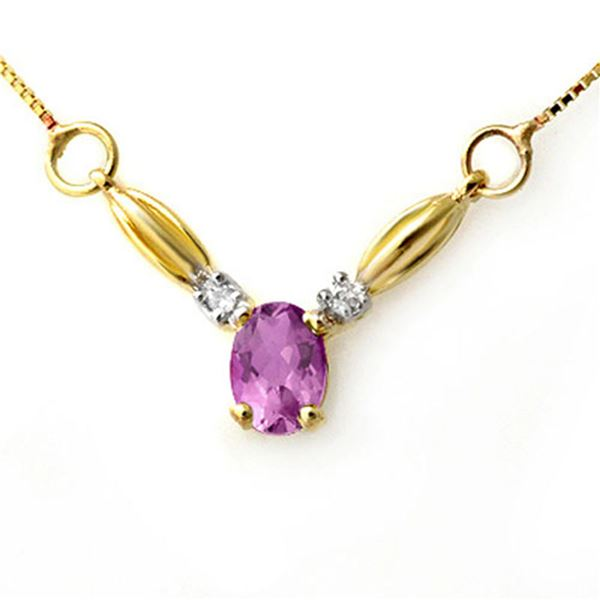 1.30 ctw Amethyst & Diamond Necklace 10k Yellow Gold - REF-14X2A