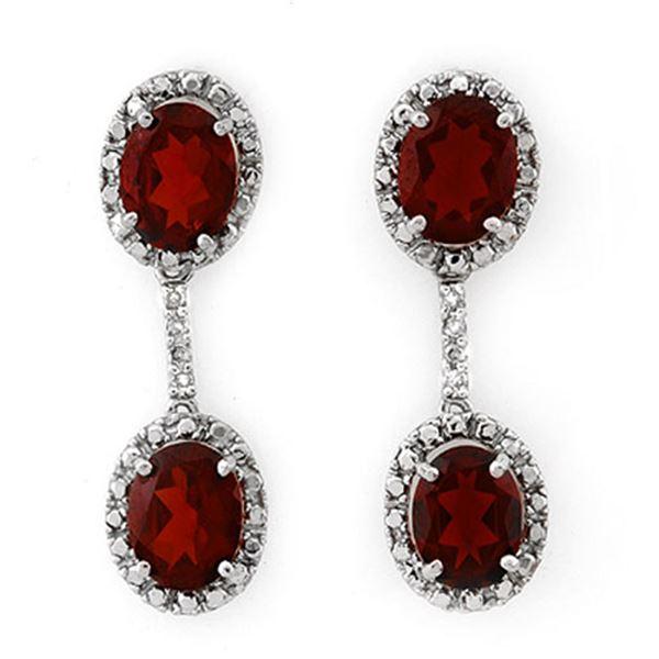 8.10 ctw Garnet & Diamond Earrings 10k White Gold - REF-25G2W