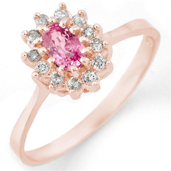 0.60 ctw Pink Sapphire & Diamond Ring 14k Rose Gold - REF-25Y9X