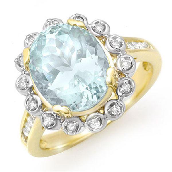 5.33 ctw Aquamarine & Diamond Ring 10k Yellow Gold - REF-81F8M