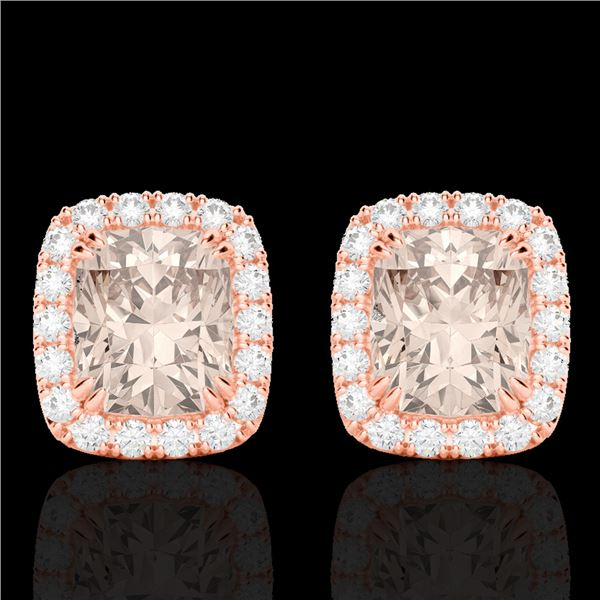 2.50 ctw Morganite & Micro Pave VS/SI Diamond Earrings 10k Rose Gold - REF-48A6N