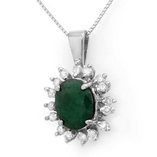 4.20 ctw Emerald & Diamond Pendant 14k White Gold - REF-87H3R